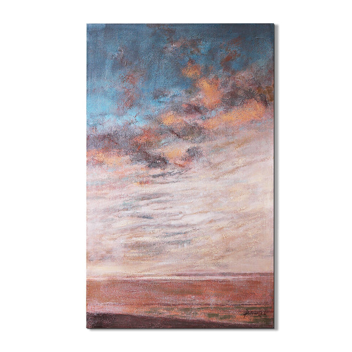 Magari D1770 Sunset Beach Oil Painting (or) Hand Painted (or) Art-Long Mountains