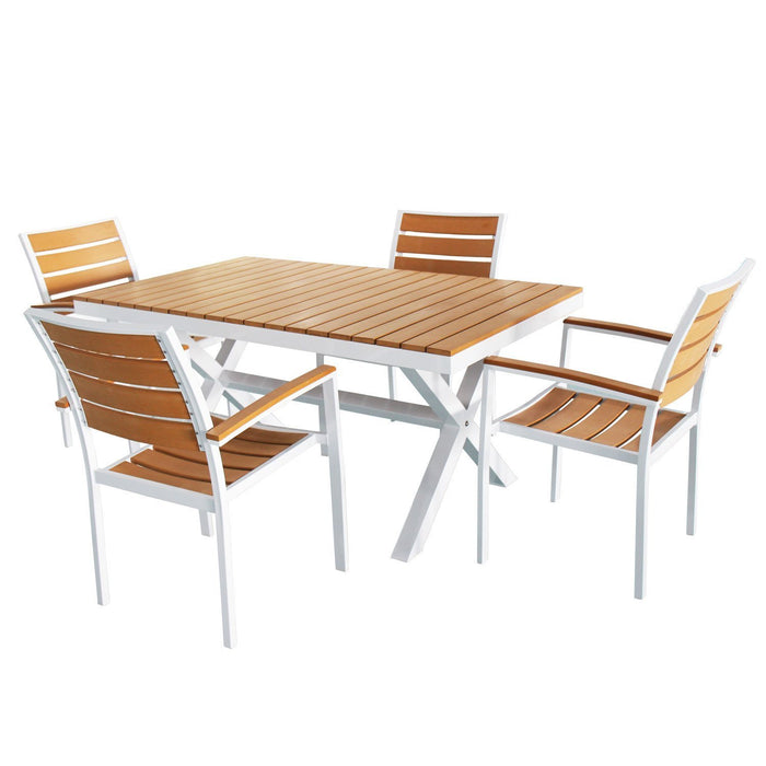 Magari Furniture Aluminum MA222-106 5 Piece Indoor Outdoor Patio Garden Pool Dining Rectangular Wood Table Set, White-Long Mountains
