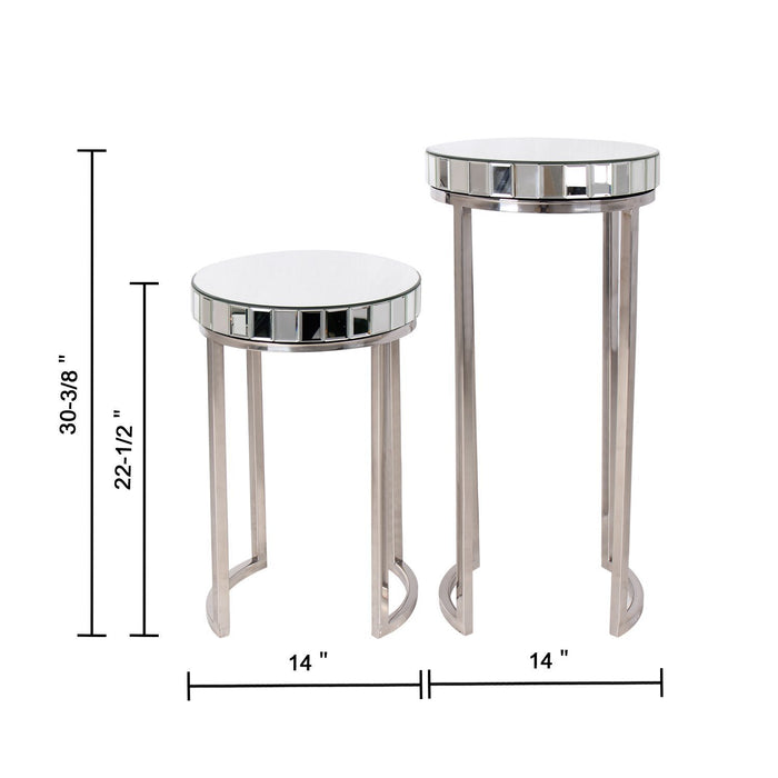 Magari Furniture Argento Mirrored Round Side/End Table-Long Mountains