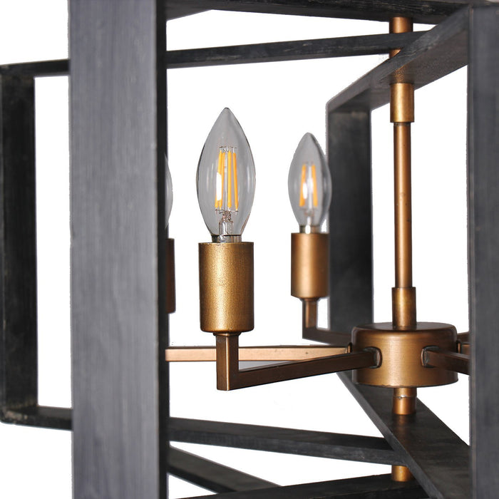 Magari Furniture D6304-6PBA-BS Torcia I Candle-Syle Chandelier Modern Style-Long Mountains