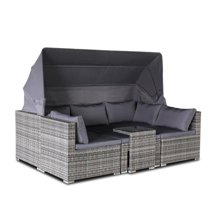 ... Magari Furniture DS R403 Wicker Outdoor Furniture Grey 1 Complete 5  Piece Long Mountains ...