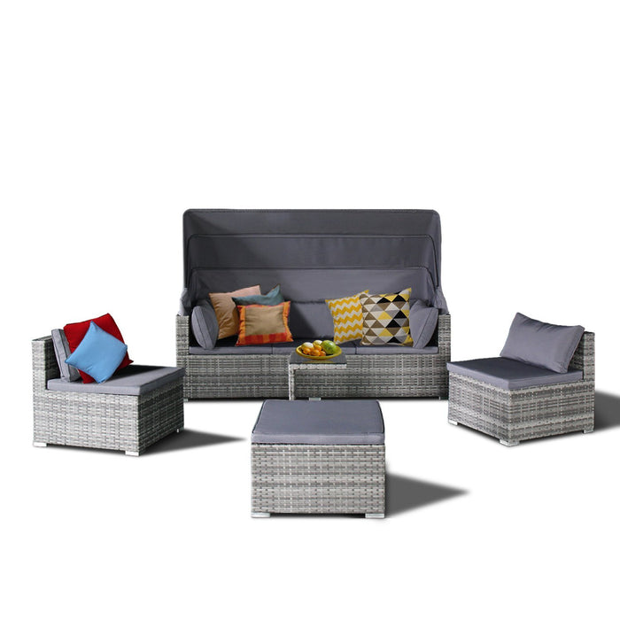 Magari Furniture DS-R403 Wicker Outdoor Furniture Grey 1 Complete 5 Piece-Long Mountains