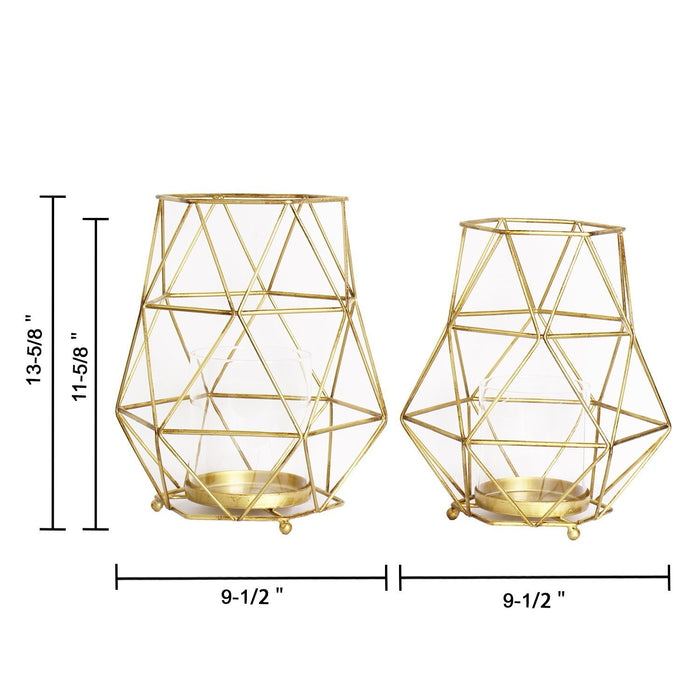 Magari Furniture Geometric Candleholder, Set of 2, Rustic Gold, 2 Piece-Long Mountains