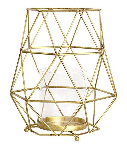 Magari Furniture Geometric Candleholder, Small, Rustic Gold-Long Mountains