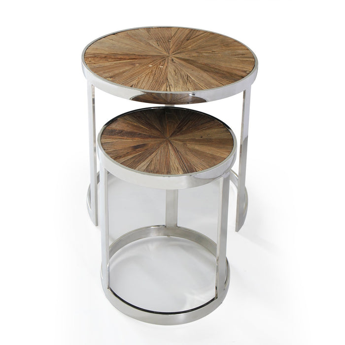 Magari Furniture GL15361537 Eclisse II Reclaimed Elm Wood Nesting End Tables-Long Mountains