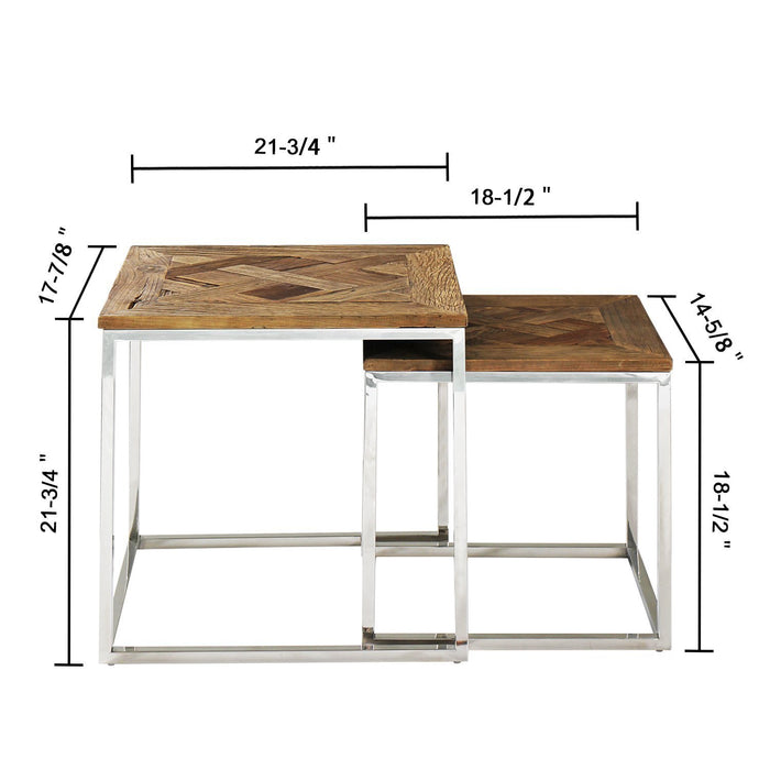 Magari Furniture GL15381539 Eclisse Quadrato Reclaimed Elm Wood Nesting End Tables-Long Mountains