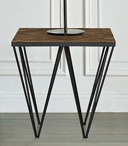 Magari Furniture GL1557 A Punta Reclaimed Elm Wood Side Table-Long Mountains