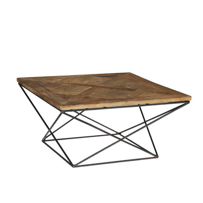 Magari Furniture GL1559 Torcere Reclaimed Elm Wood Coffee Table-Long Mountains