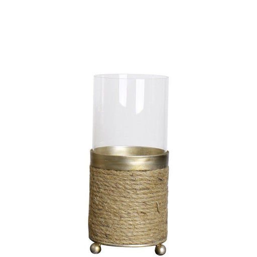 Magari Furniture Lieve Hurricane with Rope Candleholder, Small, Rustic Gold-Long Mountains