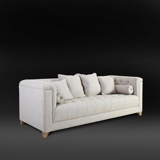 Magari Furniture MA323-3 Mid Century Loft Button Tufted Sofa Couch, Beige-Long Mountains