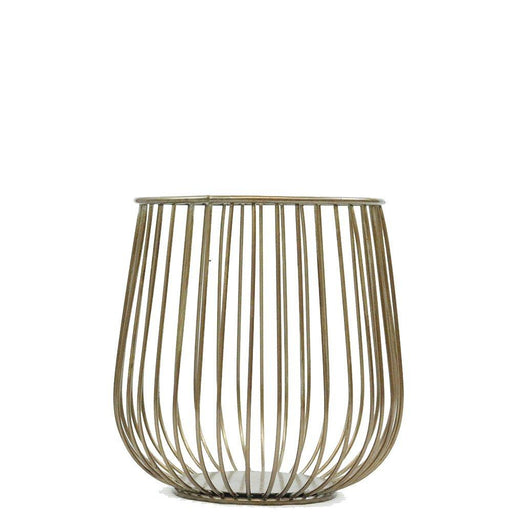 Magari Furniture MA377 Lieve Metal Basket Candleholder, Small, Rustic Gold-Long Mountains