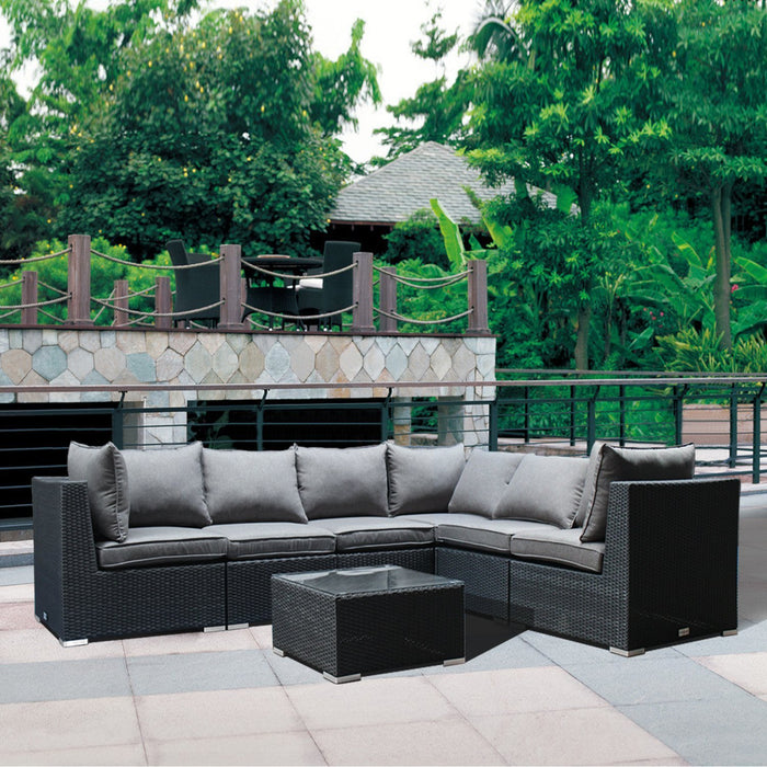 Magari Furniture MA90 Cavaliere Sectional Sofa Patio Set, Black-Long Mountains