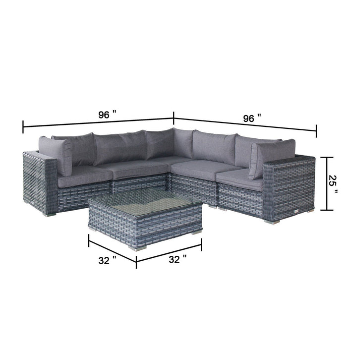 Magari Furniture MAG953V-6DE Outdoor 6 Piece 4 Seater Aluminum Rattan Pool Patio Garden Set, Grey-Long Mountains