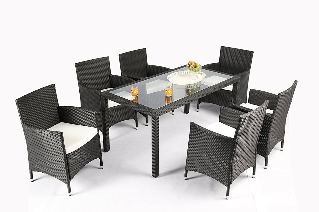 Magari Furniture NGI-12 Giorno Rattan Wicker Patio Dining Set (7 Pieces), Black-Long Mountains
