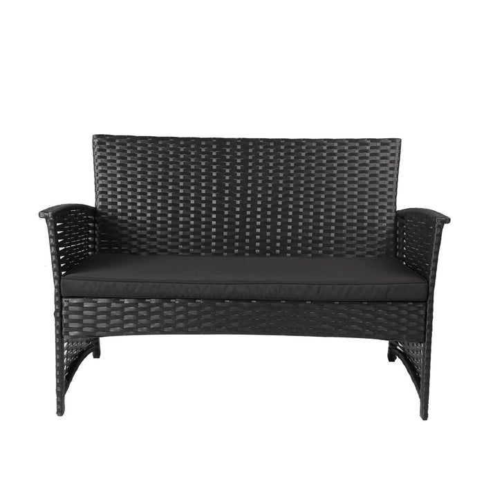 Magari Furniture NGI-14 Pranzo Rattan Wicker Patio Set (4 Pieces), Black-Long Mountains
