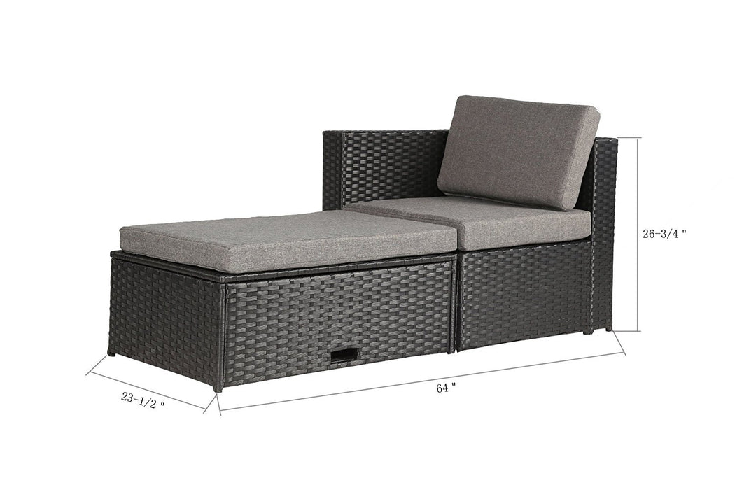 Magari Furniture NGI-5 Notte Couch Sectional Sofa Patio Set (4 Pieces), Black-Long Mountains