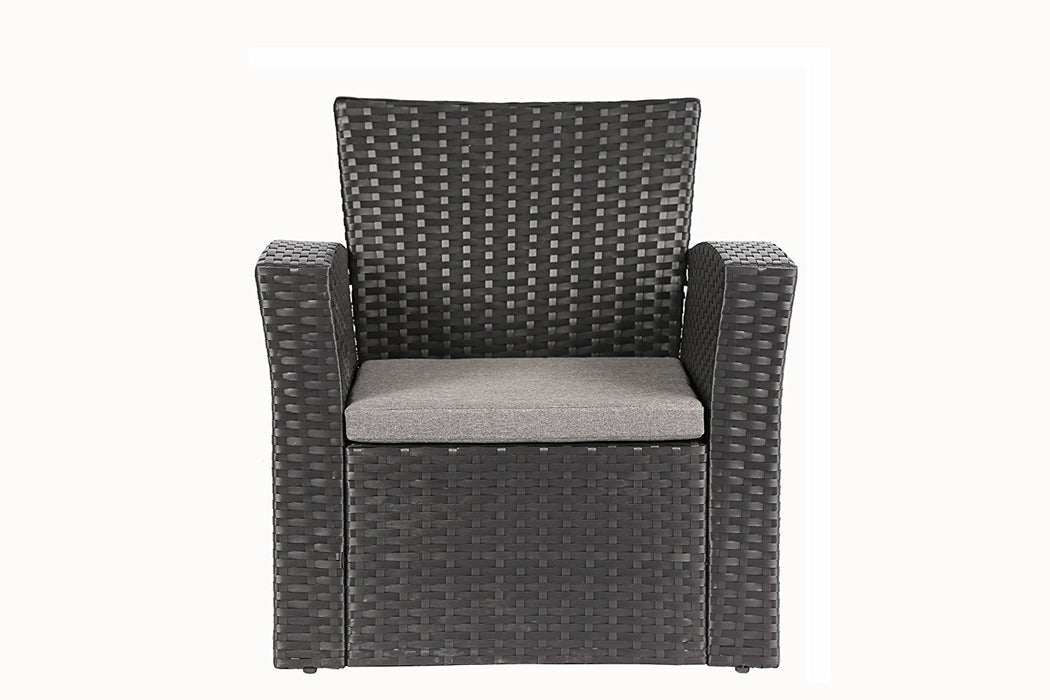 Magari Furniture NGI-6 Notte Rattan Wicker Patio Set (4 Pieces), Black-Long Mountains