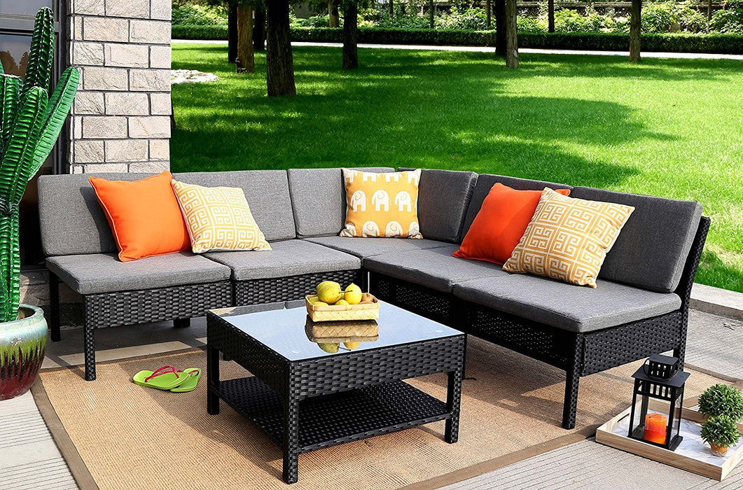 Magari Furniture NGI-9 Spiaggia Couch Sectional Sofa Patio Set (6 Pieces), Black-Long Mountains