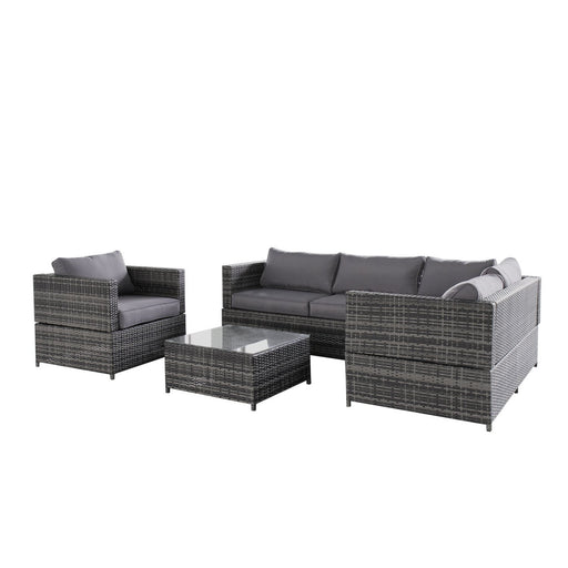 Magari Furniture Outdoor SJ-15125 Complete 4 Piece PE Wicker Rattan Pool Patio Garden Set with Cushions, Grey-Long Mountains