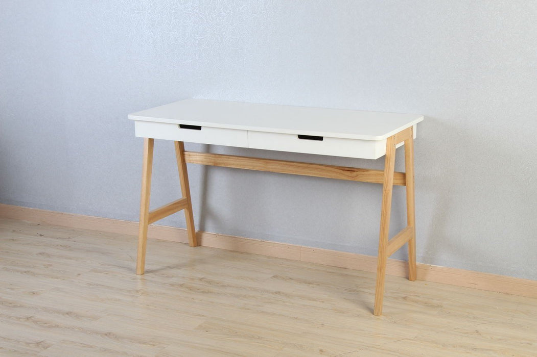 Magari Furniture YC1510 2-Tier Contemporary Writing Console Desk, Large, White-Long Mountains