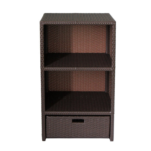 Magari MA-2 Outdoor/Indoor Freestanding Organizer Shelf Towel Pool Patio Cabinet, Brown-Long Mountains