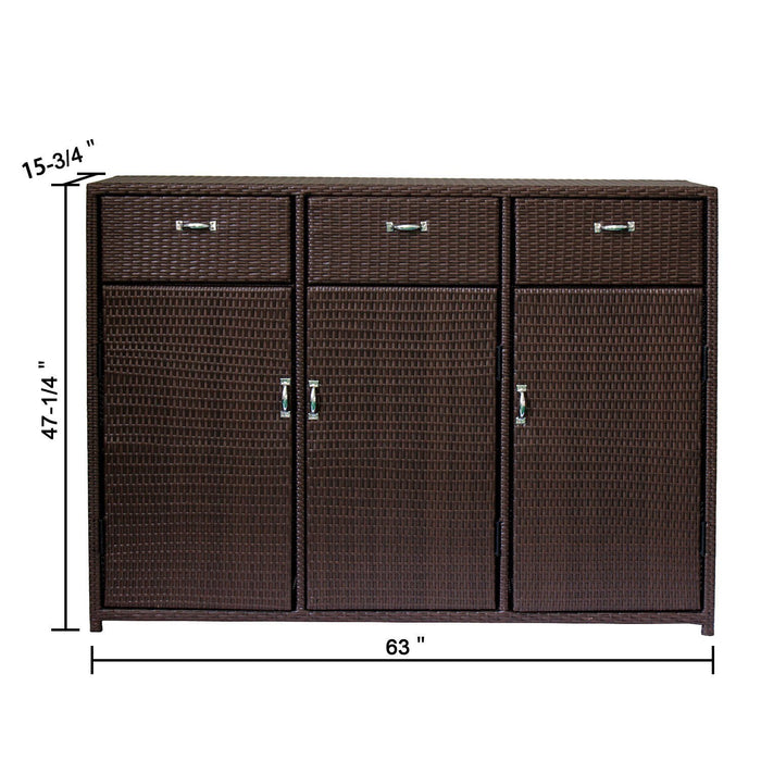 Magari MA-3 Outdoor/Indoor Freestanding Organizer Cabinet Towel Pool Patio Console, Brown-Long Mountains