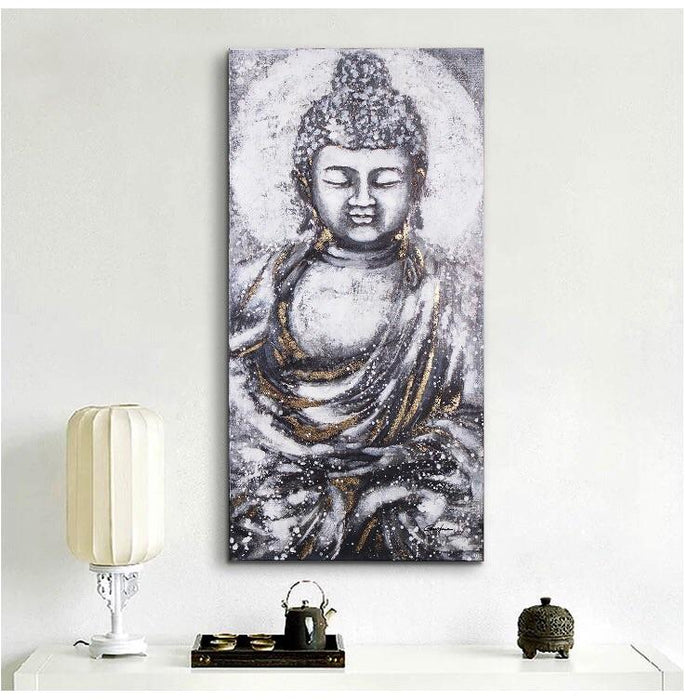 Magari Wall Décor E2295 Peace Buddha Oil Painting-Long Mountains