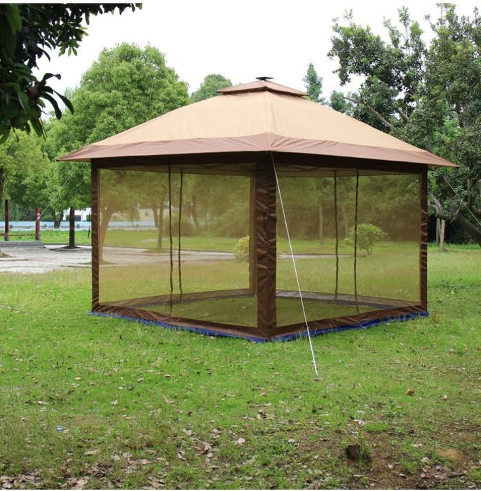 Suntime ST-1 Fully Enclosed Canopy Instant Popup Gazebo with Solar Powered LED Lights and Mesh Insect Screen, Portable-Long Mountains
