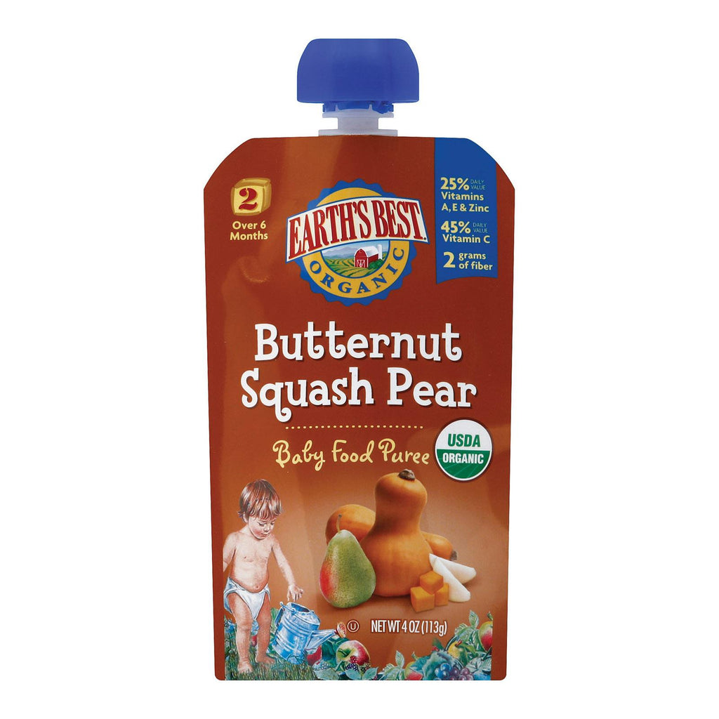 Earth's Best Organic Butternut Squash Pear Baby Food Puree - Stage 2 - Case Of 12 - 4 Oz.
