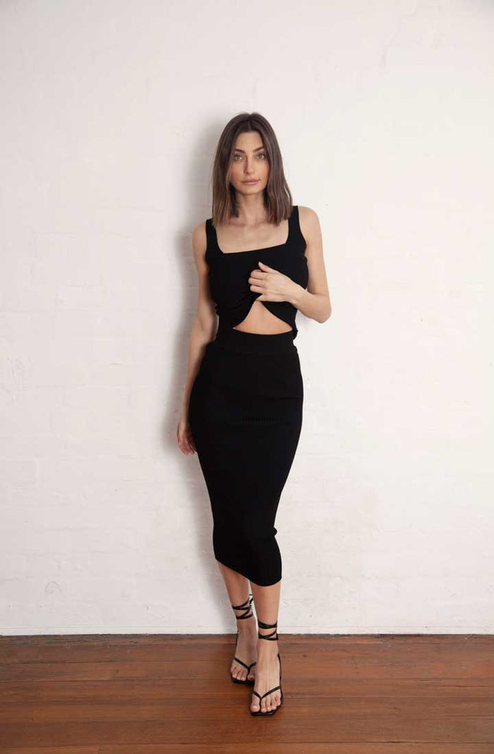 Lara Midi Skirt Black