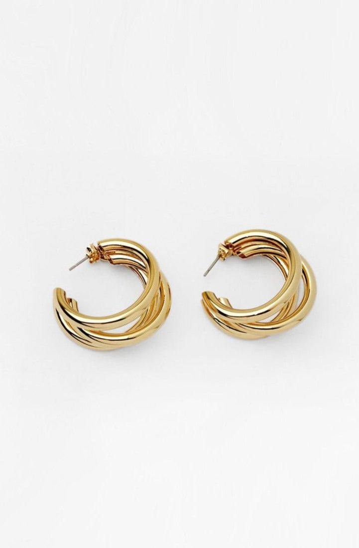 Triple Hoops Gold