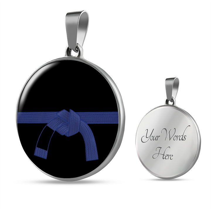 Jiu Jitsu Blue Belt Necklace | Surgical Steel & Shatterproof Glass | Made in the U.S.A.