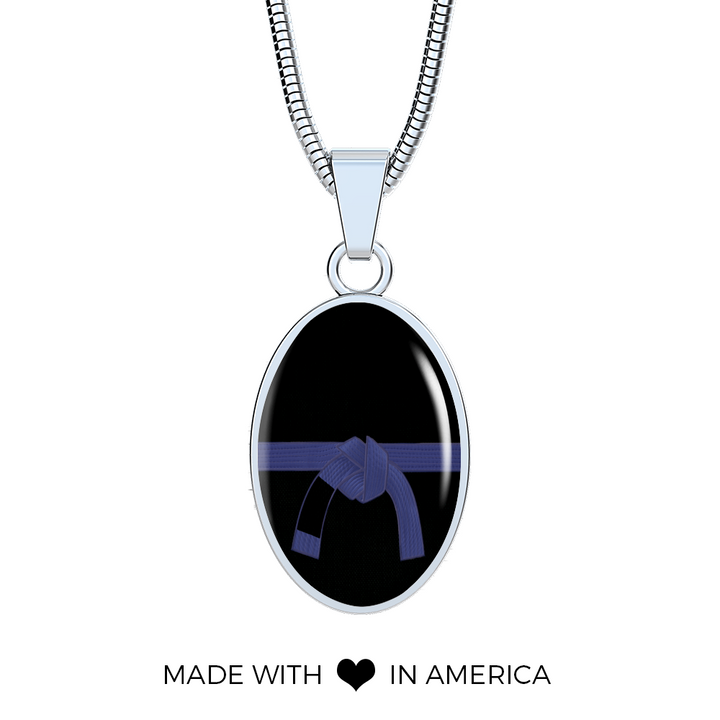 Blue Belt Stainless Steel Neckless With Shatterproof Glass | Made in the U.S.A.