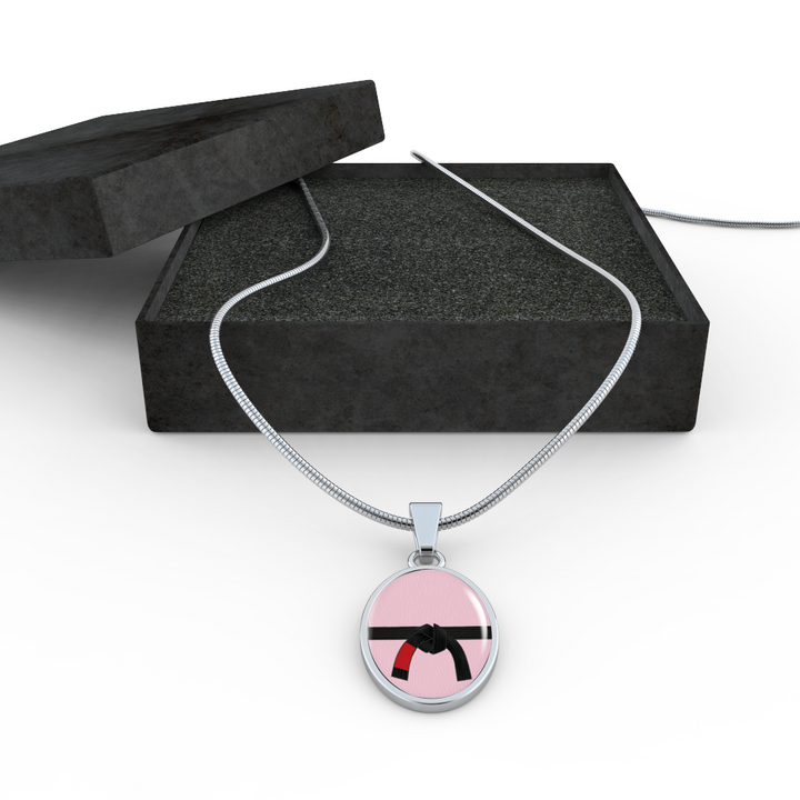 Womens Black Belt Stainless Steel Neckless With Shatterproof Glass | Made in the U.S.A.