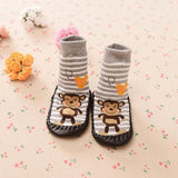 Anti-Skid Cotton Indoor Socks Cartoon Print For Baby