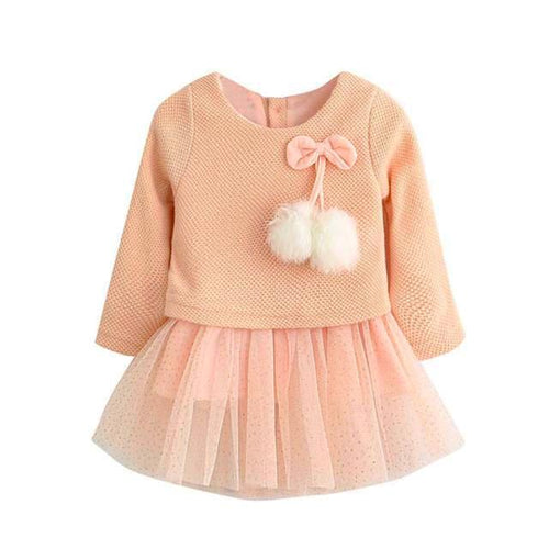 Long Sleeve Dotted Tutu Style Party Dress