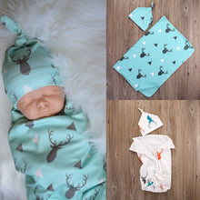 Load image into Gallery viewer, Deer Printed Blue Swaddle Wrap and Hat Set