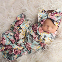 Load image into Gallery viewer, Floral Swaddle Wrap and Headband Set