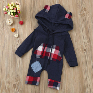 Bear Grid Hoodie Jumpsuit with Patchwork