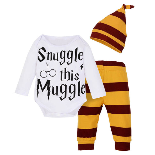 'Snuggle This Muggle' Bodysuit, Striped Cotton Leggings and Striped Cap
