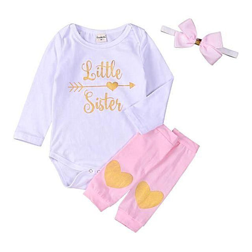 'Little Sister' Long Sleeve Bodysuit, Heart Print Leg Warmer and Bow-tie Headband Set