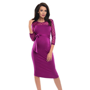 Maternity Knee Length Dress with Polka Dots and Lace