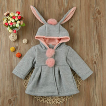 Load image into Gallery viewer, Rabbit Ears Hooded Winter Pom-Pom Overcoat