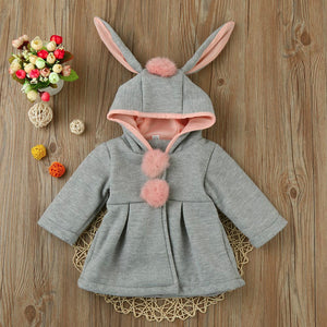 Rabbit Ears Hooded Winter Pom-Pom Overcoat