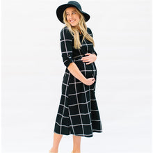 Load image into Gallery viewer, Chequered Pattern Black Mid-Calf Dress