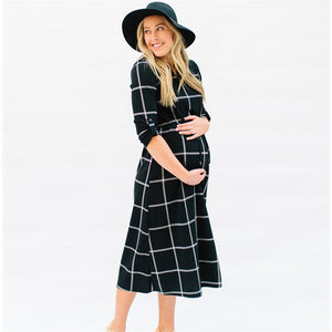 Chequered Pattern Black Mid-Calf Dress