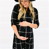 Chequered Pattern Black Mid-Calf Dress For Pregnancy