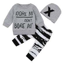 Load image into Gallery viewer, Newborn Baby Boy Girl Long Sleeve Letter Print Tops+Pant+Cap Outfits Clothes Set