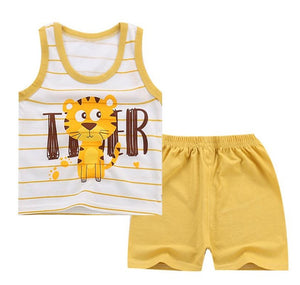 Toddler boy Shirt Set Tshirt Children's Clothing Set Child Vest Shorts and a T-shirt for Baby Boy Summer Clothes 1 2 3 Years Old