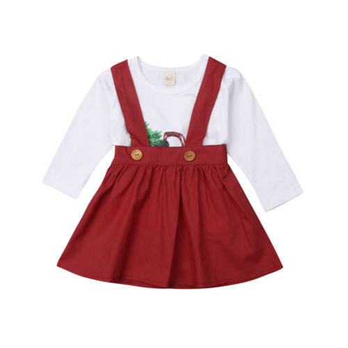 Christmas 2 Piece Long Sleeve Top and Tutu Skirt